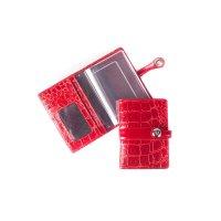 Обложка для автодокументов кожаная красная 02-040-3251