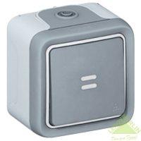 Переключатель Plexo с подсветкой в комплекте с лампой IP 55-IK 07 на 2 направления накладной, серый