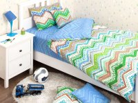 Хлопковый Край Комплект детского постельного белья Zigzag Green 1,5-спальный наволочка 50 см х 70 см