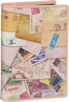 Обложка для автодокументов женская Flioraj, цвет: светло-розовый, бежевый. 136-Postcard