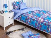 Хлопковый Край Комплект детского постельного белья Geometry Blue 1,5-спальный пододеяльник 150 см х