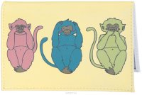 Обложка для автодокументов Три мудрых обезьяны на светло-желтом. AUTO387