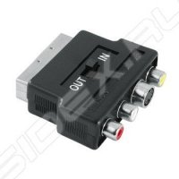 Переключатель SCART (m) - 3 х RCA (f) 1 зв (Hama 00122238) (черный)